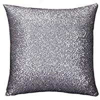 Yohope Home Decor Solid Color Glitter Sequins Throw Pillow Case Sofa Square Cushion Covers 40cm*40cm (Grey)