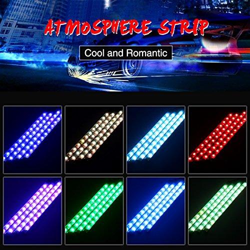 Audew LED Innenraumbeleuchtung Innenbeleuchtung Auto 4×12 Lichtleiste mehrfarbliche LED Streifen Auto Atmosphäre Licht mit Fernbedienung und KFZ Ladegerät DC 12V