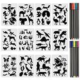 XDLink Lot DE 12 Pochoir Animaux Peinture Pochoir Insectes 17,8 x 12,5cm Réutilisable Souple avec 10 Stylos-feutres Pointe 0,38mm pour Scrapbooking Carte d'anniversaire Décoration Murale