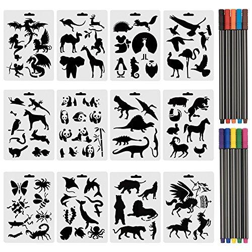 CCMART Set von 12 Tierschablonen mit 10 farbigen Fineliner-Stiften aus Kunststoff, Zeichnungs-Vorlagen mit Meerestieren, Wildtieren, über 80 verschiedene Tiermuster für Karten, Bastelprojekte -