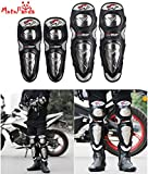 #5: MotoPanda PRO-BIKER Motorcycle Riding Knee & Elbow Protector Pads Stainless Steel Shell Motocross Off-Road Racing Knee Protective Gear (Set of 4 Black)
