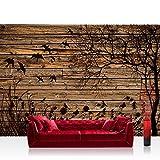 Vlies Fototapete 208x146cm PREMIUM PLUS Wand Foto Tapete Wand Bild Vliestapete - Holz Tapete Holzwand Holzoptik Holz Schatten Malerei Baum Gras Vögel braun - no. 2050