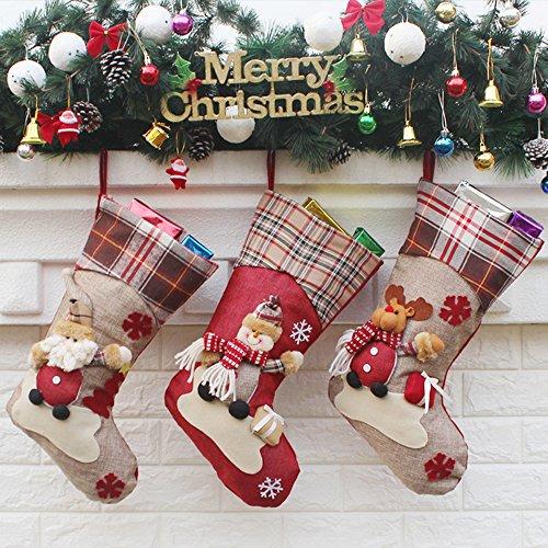 Decdeal 3er Set Nikolausstiefel Weihnachsstrumpf Hängende Strümpfe für Weihnachtsdeko