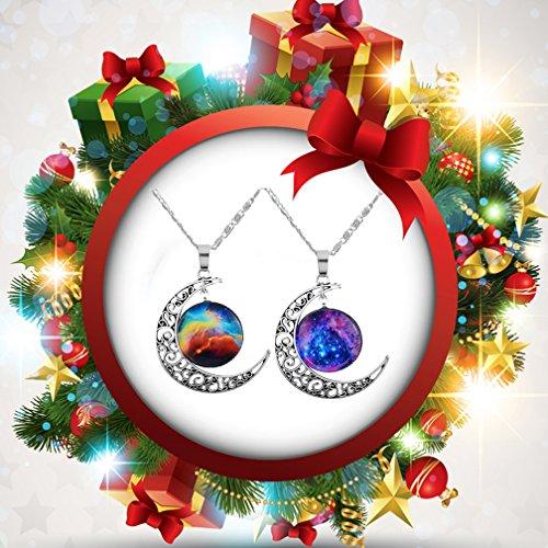 MJartoria Damen kette Silber Farbe Crescent Moon Universum Glas Cabochon Anhänger 2 Stück Halskette Freundschaftsketten