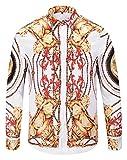 Pizoff Herren Luxus Palace Still Fashion langärmliges Hemd Hip-Hop Tops mit Golden Floral Schild Medaille Druckmuster