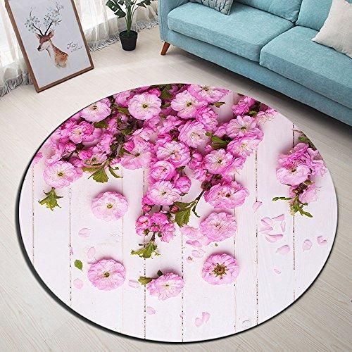LB Holzbrett rosa Rose Blume Badematte Runde Bereich Teppich Leben Zimmer Schlafzimmer Bad Küche Weich Teppich Bodenmatte Home Decor,120x120 - Küche-teppich-blumen