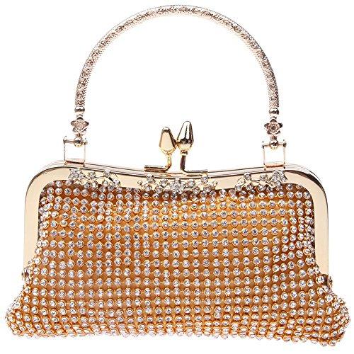 Santimon Clutch Della Donne Diamante Cristallo Borsellini Festa di Nozze Sera Borse Con Tracolla Amovibile 2 Colori oro
