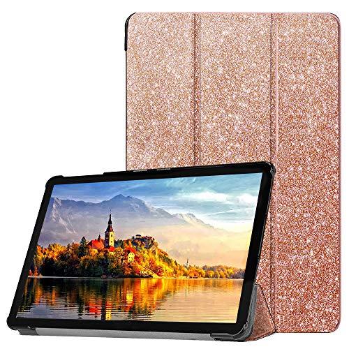 FSCOVER Hülle für Huawei MediaPad M5 Lite 10, Ultra-Slim leichte PU-Lederabdeckung mit Auto Wake/Sleep-Funktion magnetische Schutzhülle für Huawei M5 Lite 10, Roségold