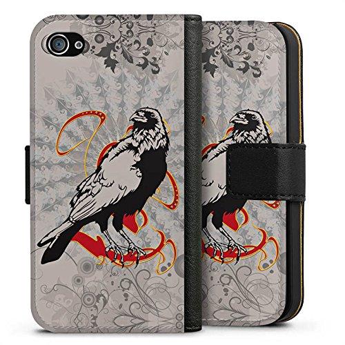 Apple iPhone X Silikon Hülle Case Schutzhülle Rabe Raven Crow Sideflip Tasche schwarz