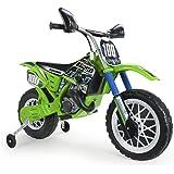INJUSA - Moto Cross Kawasaki a Batería 6V Licenciada con Acelerador en Puño y Bandas de Goma en Las Ruedas Recomendada a Niño