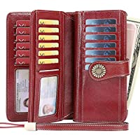 Wallet for Women Genuine Leather Large Capacity Wallet, RFID Protection Credit Card Holder with Zipper Pocket Mini Lady Purse (Wine Red)