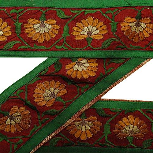 Vintage Indian Craft Stoff gestickter Gebraucht Maroon Sari Border Nähen Band -