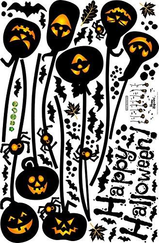 Kürbis Halloween Mauer Aufkleber Karikatur Mauer Abziehbild Kunst Geist Hexe Lampe Ornaments Tapete Tapeten Für Schlafzimmer Corp Büro Party Mauer Geschenke Zuhause Dekoration , - Halloween-stickerei-ornamenten