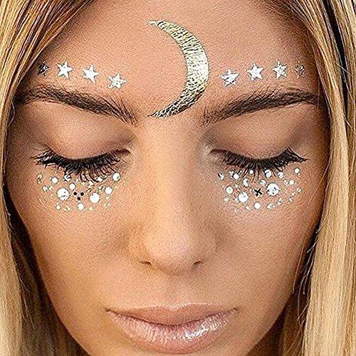 Yuccer Face Sticker, Temporäre Stickers Gesicht Aufkleber Face Tattoo für Augen Gesicht Party Festival Shows Gold 2 Stück (F23)