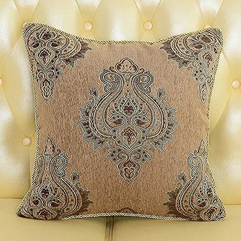 MeMoreCool Palazzo europea divano cuscino Cover, Exquisite Jacquard Throw Pillow Cover con frange/Edge Tortiglione Decor, elegante federa, Cotone, brown2, 24 inch by 24 inch