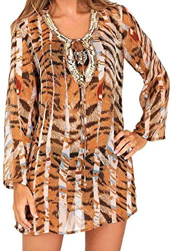 Womens Tiger Print Cover Up Boutique Chiffon Sommer Ladies Beach Kaftan Top klein Mittel oder groß Braun