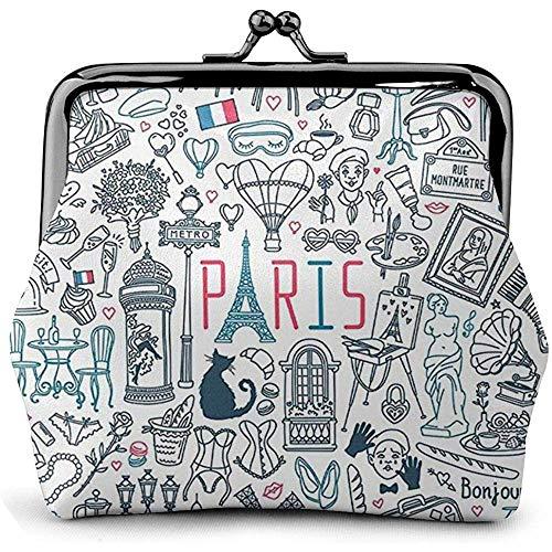 Klassische Exquisite Schnalle Geldbörse Kiss-Lock Schnalle Vintage Clutch Taschen Canvas Stick, Awesome Paris Frankreich