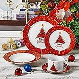 VEWEET, Serie Christmastree, 60-teilig Set Tafelservice, Geschirr Set für 12 Personen, Kaffeeservice für Weihnachten, Geschenk Vergleich
