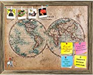 ArtzFolio Mid 1800s Old World Map Western & Eastern Hemispheres Printed Bulletin Board Notice Pin Board So