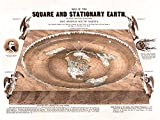 flache Erde Karte - Flat Earth Map - Map of the Square and Stationary Earth -Orlando Ferguson- Poster 24 x 18