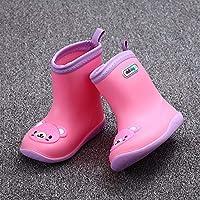zj Botas de Lluvia para Niños, Niñas Y Niños Botas de Lluvia para Bebés Antideslizantes, Zapatos de Agua para Niños, Botas de Lluvia Universales de Cuatro Estaciones,Oso Rosado,28