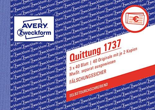 AVERY Zweckform 1737 Quittungsblock (A6 quer, 3x40 Blatt, mit Durchschlag, fälschungssicher, separat ausgewiesene MwSt., für Deutschland und Österreich) weiß/gelb/rosa