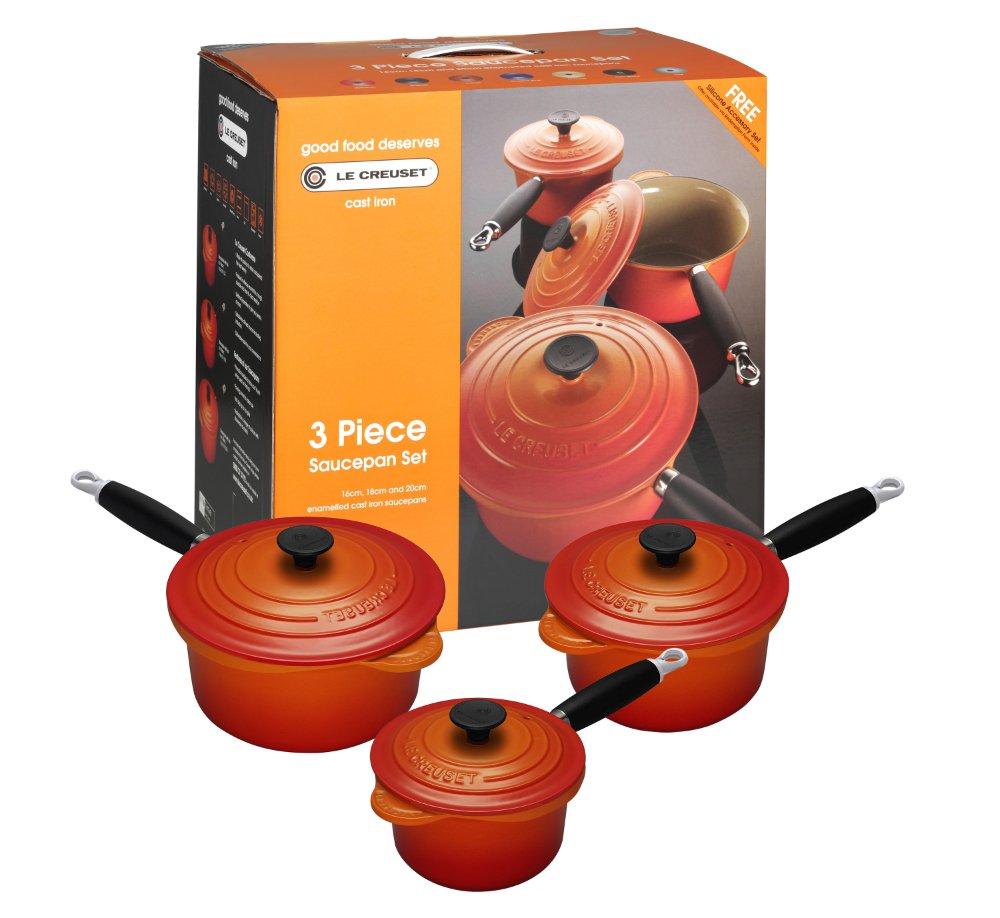 Le creuset cast iron saucepan set - Le Creuset Cast Iron Saucepan Set 3 Piece Set Volcanic Amazon Co Uk Kitchen Home