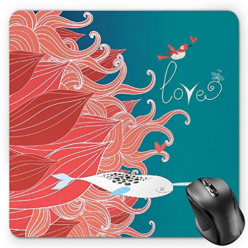 HYYCLS Narwhal Alfombrilla de Ratón Mouse Pad, Love Themed Sketch Illustration with Arctic Whale Bird and Floral Arrangement, Standard Size Rectangle Non-Slip Rubber Mousepad, Teal Coral White