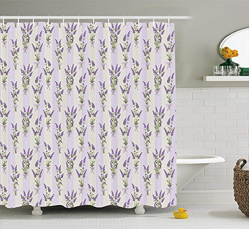 wer Curtain Set, Stripes and Flowers with Ribbons Romantic Country Home Decorations Spring Season Design, Fabric Bathroom Decor with Hooks, 60 * 72inch Extra Long, Purple ()