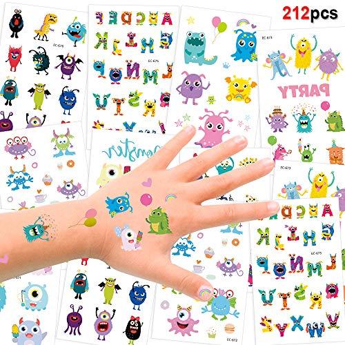 Howaf 192pcs monsters tatuaggi temporanei per bambini, impermeabile tatuaggio falso tatuaggio tattoos adesivi per bambini festa di compleanno sacchetti regalo giocattolo