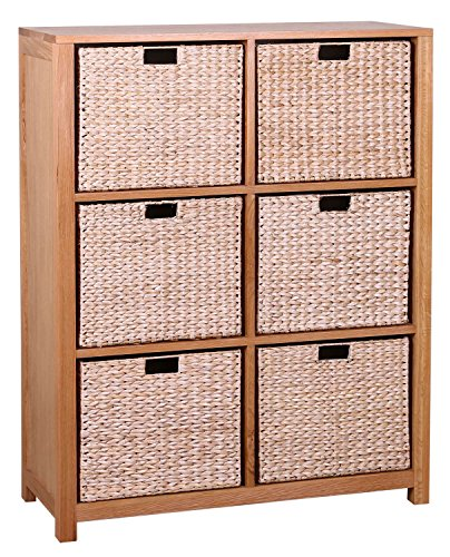waverly-oak-storage-bookcase-in-light-oak-finish-with-6-seagrass-baskets-solid-wooden-shelving-cube-