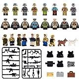 Mini Figuren Set-24 Stück Armee Minifiguren mit militärischen Waffen Zubehör, Bausteine der Armee Soldat Minifigur gehören 5 Arten Körper Rüstung, Bausteine Kinder pädagogisches Spielzeug Geschenk (24 Stück) (24 Minifiguren)