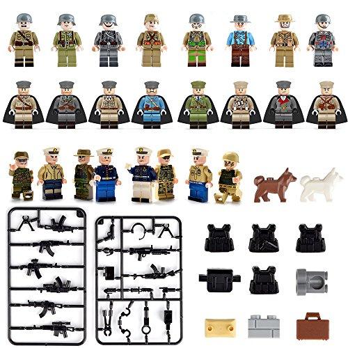 Mini Figurines Set-24 piezas Figurillas del ejército con accesorios de armas militares, Army Soldier Figurine Building Bricks incluye 5 clases de Body Armor, Bloques de construcción Kids Educational Toy Gift (24 piezas) (Mini Figurines-New)