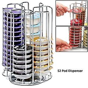 Cooltechstuff - 52 Rotating T-Disc Holder Rack for Bosch Tassimo Coffee Machine Capsule Pods (52 Pod Tower Dispenser)