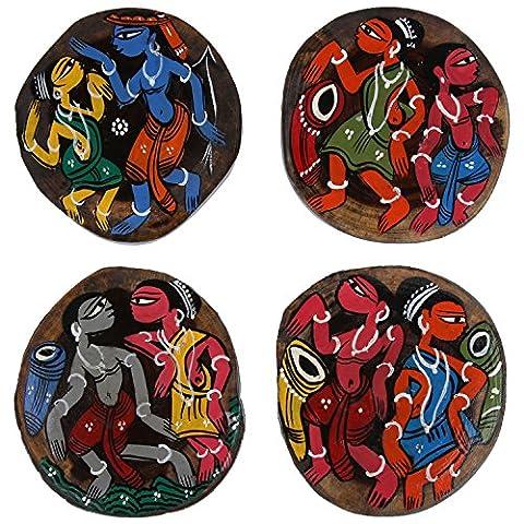 Ananth Crafts peinte à la main en bois 4pièces Forme Dessous-de-verre irrégulière Unique
