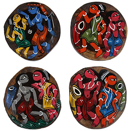 ananth-crafts-hand-painted-wooden-4-piece-unique-coasters-uneven-shape