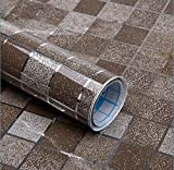 5 m oder 10 m Vinyl Selbstklebend Folie PVC-Mosaik Wallpaper Bad Küche wasserdicht Fliesen Aufkleber öldicht Wand Aufkleber Home Decor, Kaffee, 45cmX10m