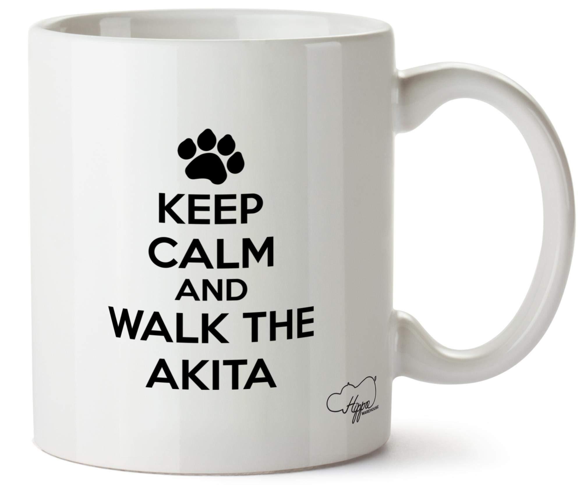 Hippowarehouse Keep Calm and Walk The Akita – Dog Printed Mug Cup Ceramic 10oz
