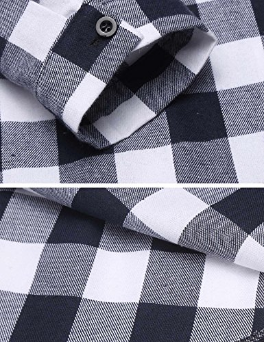 CHIGANT Damen Karierte Bluse Langarm Klassische Karobluse Casual Oberteil Langarmshirt mit Brusttaschen A-3-Blau