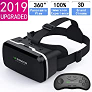HD VR Headset with Remote Controller,3D Glasses Virtual Reality Headset for VR Games & 3D Movies, VR Headset for iPhone & An