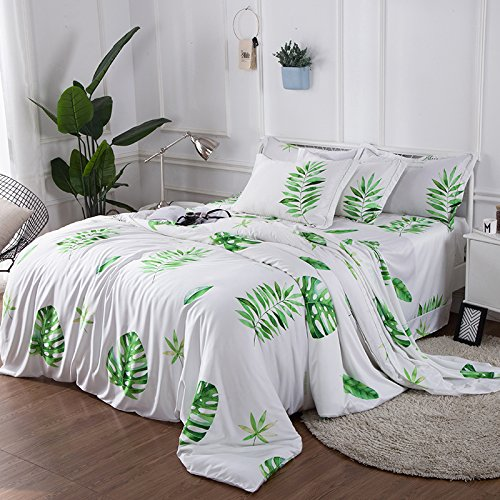 Zhiyuan 3 Seidiger Satin Bettbezug Set, Satin, Green Leaves, Queen (Queens Green Leaf)