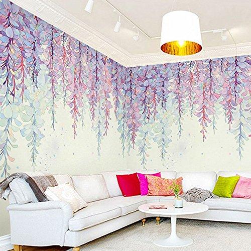 Chan-Mei 3D die kreative Hand bemalt Purple Cane Blumenbilder Schlafzimmer Garten Ring Wohnzimmer Tv Hintergrund Tapete an den Wänden 400cmX350cm (Cane Schlafzimmer)
