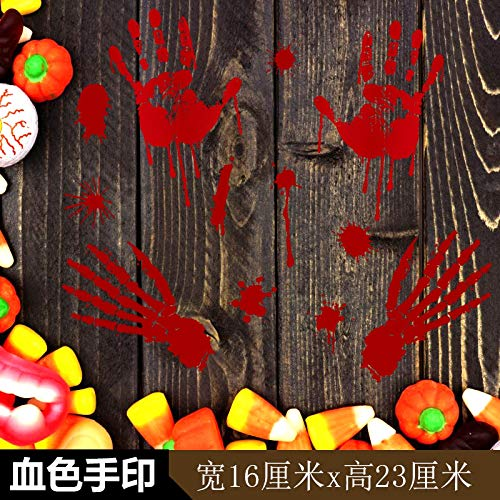 Blut-diagramm (Halloween Dekorationen Schaufenster Glastür Aufkleber Aufkleber Urlaub Layout Kindergarten Schule Selbstklebende Wandaufkleber-Blut Farbe Handabdruck SK31007)