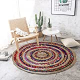 The Home Talk Multicolor Cotton & Jute Braided Floor Rug/Doormat/Living Room/Drawing Room, 95 cm Round- Multicolor (Free Gift: Pack of 4 Kids Print Face Towel)