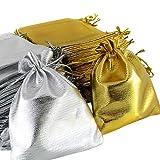 Brussels08 - Confezione da 25 sacchetti in organza trasparente con coulisse, ideali per feste, bomboniere, bomboniere, bomboniere, bomboniere, bomboniere Argento