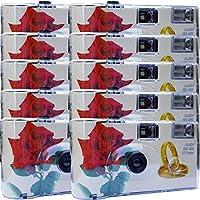 "10 x Photo PORST boda Cámara/cámara desechable ""Rosa Roja + anillos"" (con flash luz y pilas, por 27 fotos, ISO 400 Fuji)"