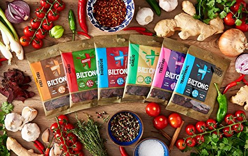BILTONG-FLAVOUR-FEST-6-x-35g-BAGS-1-EACH-OF-6-GREAT-FLAVOURS-Teriyaki-Chilli-Traditional-Peri-Peri-Garlic-BBQ-From-BEEFIT-Snacks-AWARD-WINNING-maker-Beef-Jerky-Also-1Kg-500g-250g-sizes