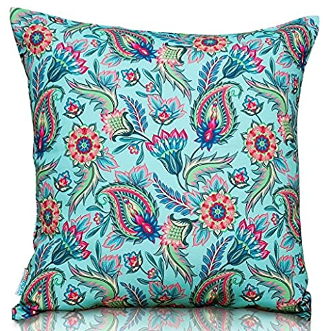 Sunburst Outdoor Living 45cm x 45cm POWERFUL Paisley Decorative Throw Pillow Cushion Cover for Couch, Bed, Sofa or Patio - Only Case, No Insert