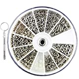 1200 Stück Edelstahl Brillen Uhr Reparatur Schraube,mit einem kleinen Schraubendreher,Winzige Schrauben Nuss Repair Tool Kit,Sortiment Kunststoffbox