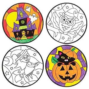 Baker Ross Decorazioni di Halloween da Finestra da colorare (Confezione da 12) per creazioni Fai da Te e Decorazioni di Halloween per Bambini